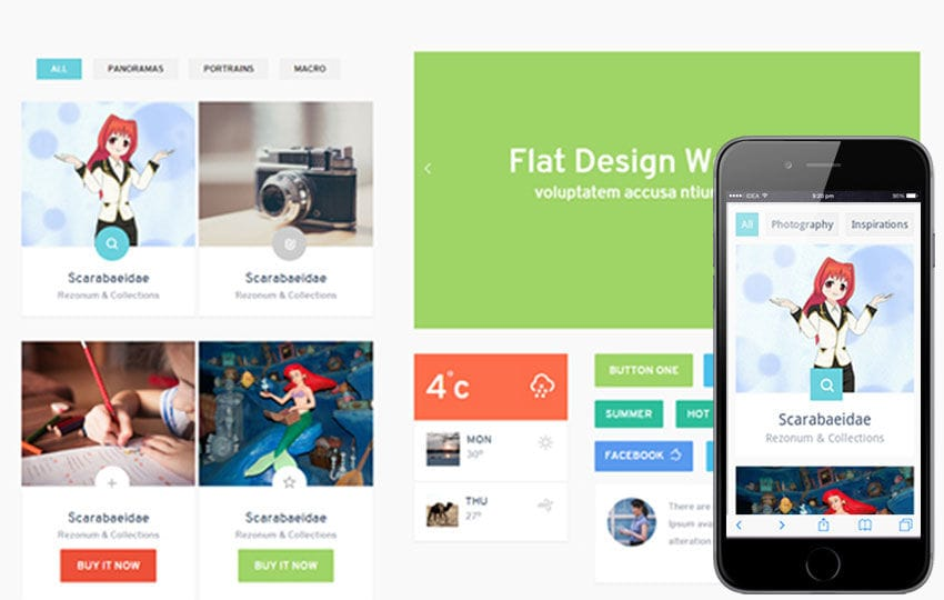 Colorz UI KIT Flat Responsive web template Mobile website template Free