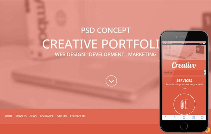Creativo a Corporate portfolio Flat Responsive web template Mobile website template Free