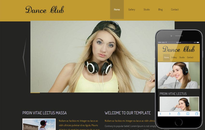 New Dance Club Website and Mobile Website for dance lovers Mobile website template Free