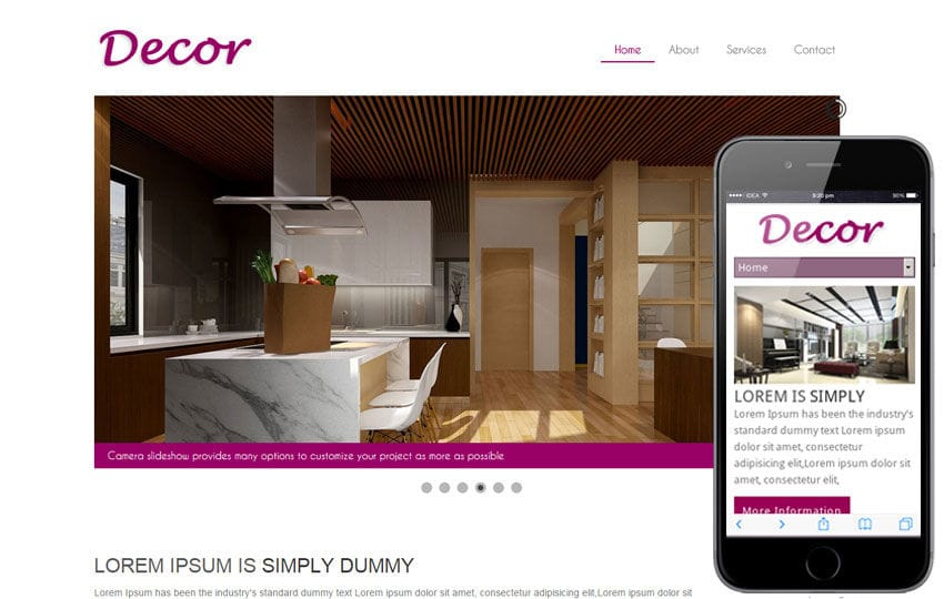 Decor a interior architects Mobile Website Template Mobile website template Free