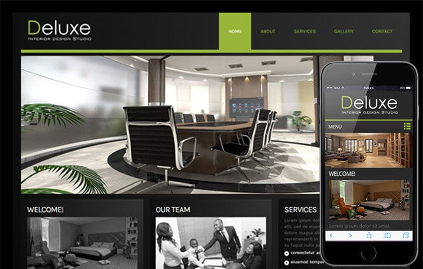 Deluxe interior architects Mobile Website Template