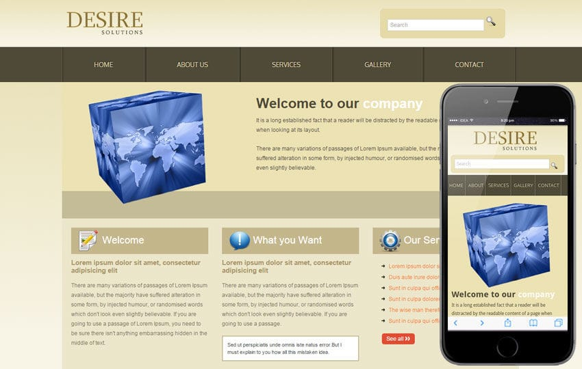 Desire Solutions web template and mobile website template for free