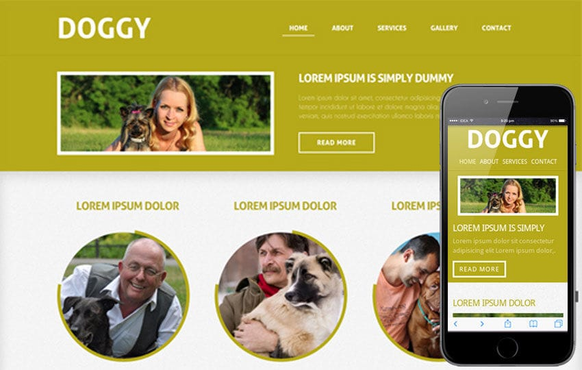 Doggy- Mobile Website Template Mobile website template Free