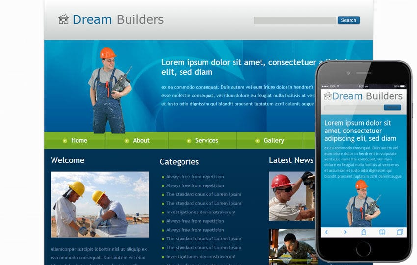 Free Dream Builders Website and Mobile Website for construction companies Mobile website template Free