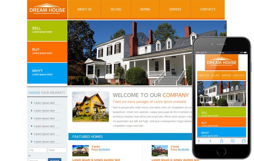 New Dream House webtemplate and mobile webtemplate for free Mobile website template Free