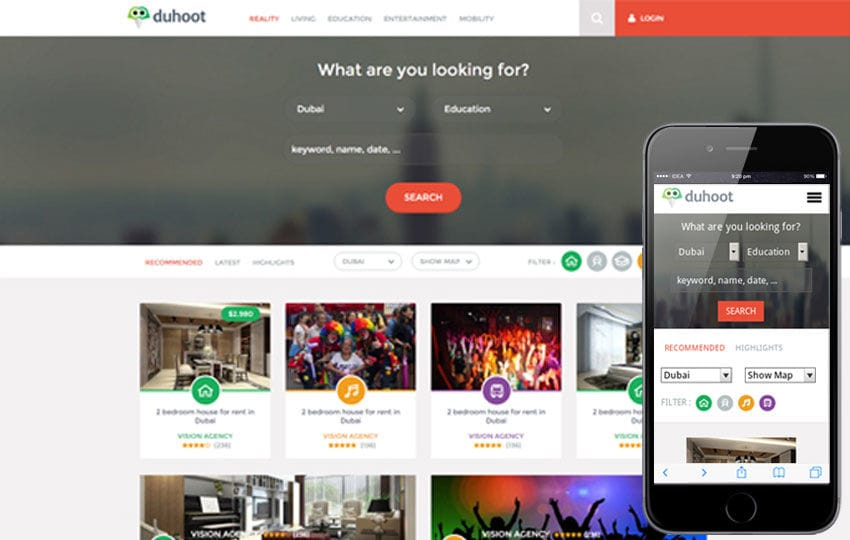Duhoot a Portal Multipurpose Flat Bootstrap Responsive web template Mobile website template Free
