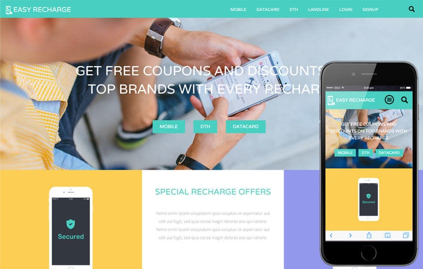 Easy Recharge a Online Recharge Bootstrap Responsive Web Template Mobile website template Free