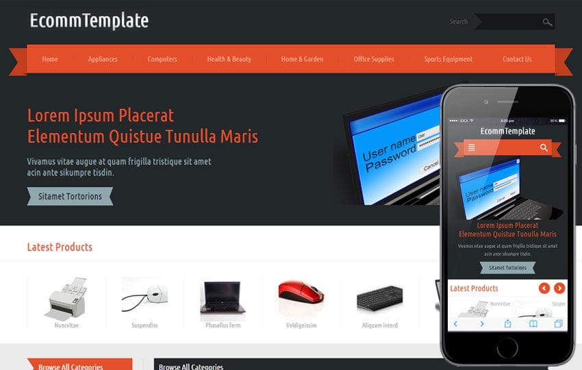 Ecomm a Flat ECommerce Bootstrap Responsive Web Template Mobile website template Free