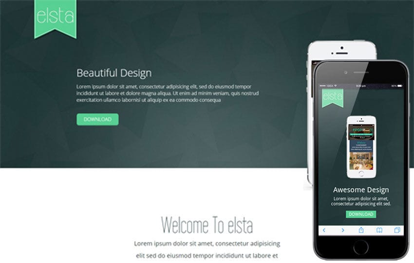 Elsta a Mobile App based Flat Bootstrap Responsive web template Mobile website template Free