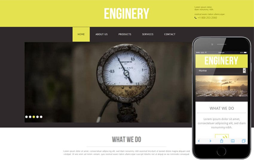 Enginery – An Industrial Mobile Website Template