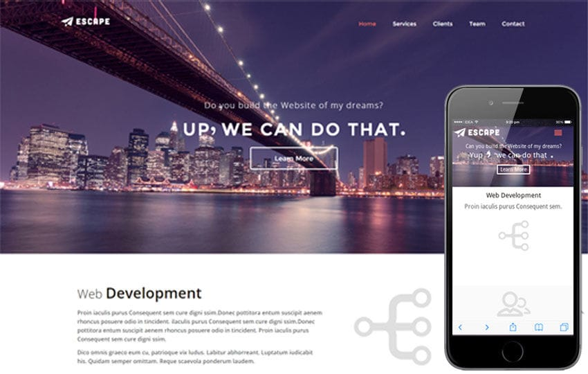 Escape a Corporate portfolio Flat Responsive web template Mobile website template Free