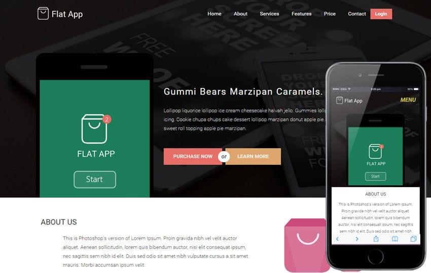 Flat App a Mobile App based Flat Bootstrap Responsive web template
