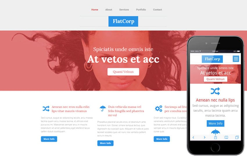 Flat Corp a Corporate Portfolio Flat Bootstrap Responsive web template