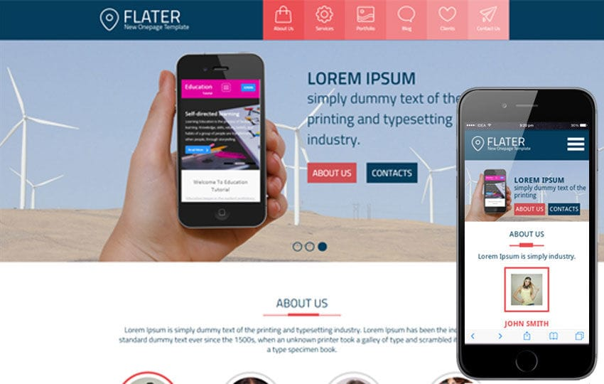 Flater a Single Page Multipurpose Flat Bootstrap Responsive web template