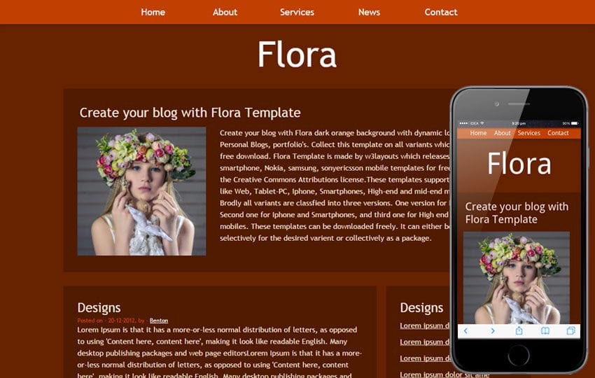 Flora Free Blogging Website and Mobile Template