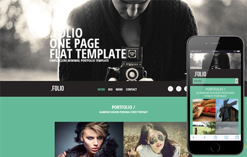 Folio a Photographer portfolio Flat Responsive web template Mobile website template Free