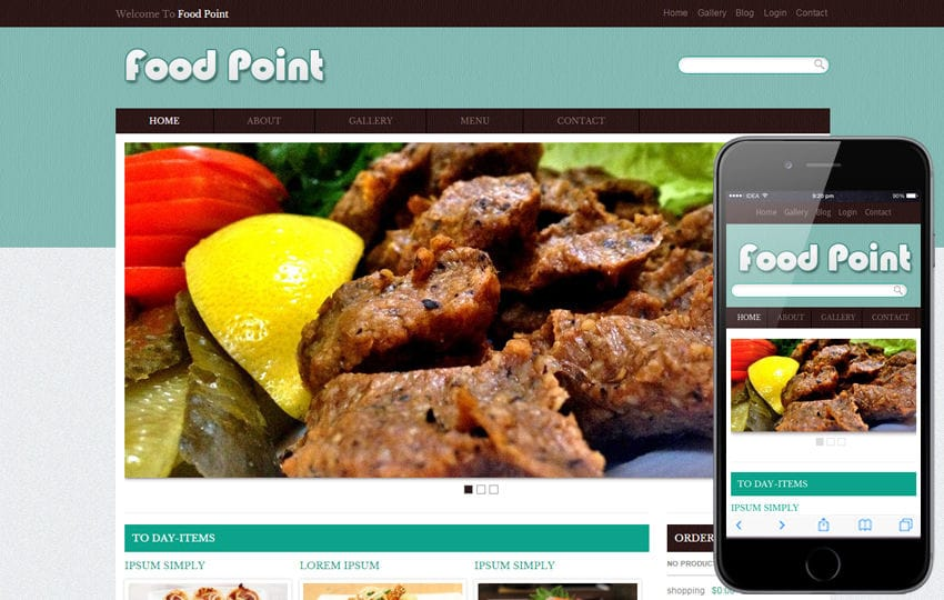 Food Point Web template and mobile website template for free