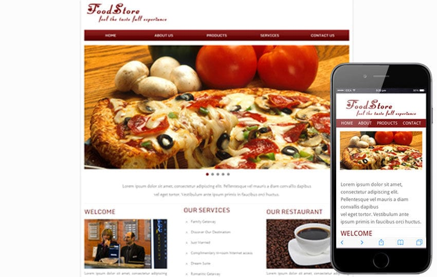 Food Store Web and Mobile website template for free