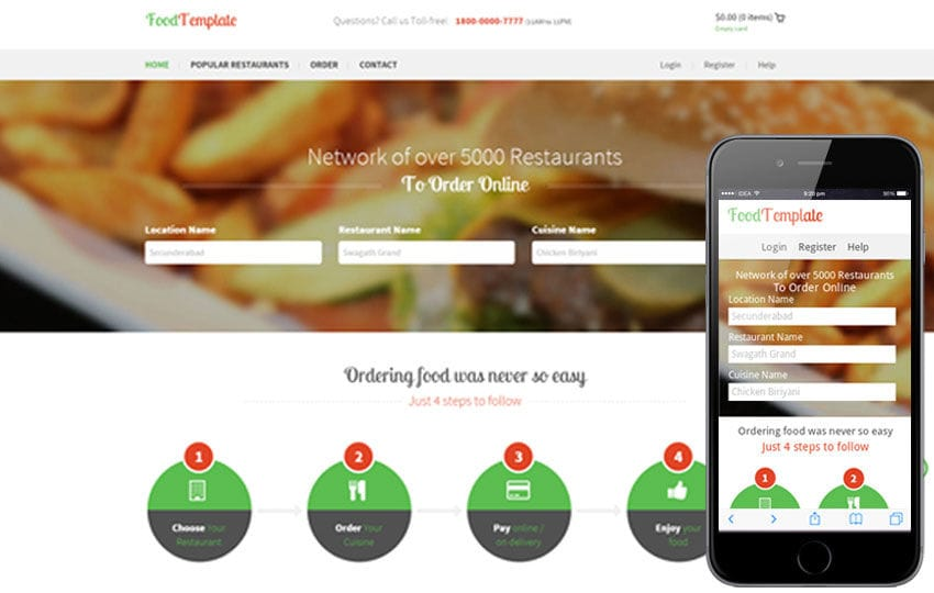 Food Template – Restaurant Flat Bootstrap Responsive website template Mobile website template Free