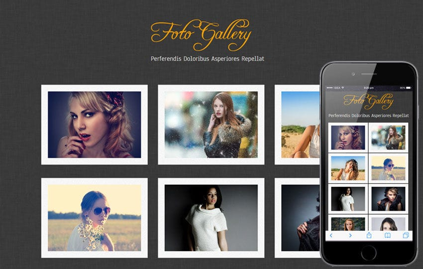 Foto Gallery website template and mobile webtemplate for free Mobile website template Free