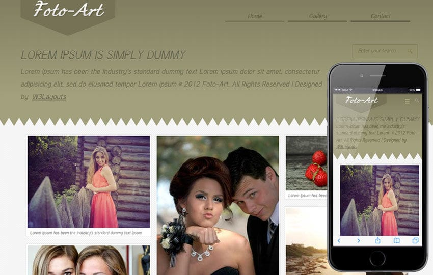 Foto Art Gallery Mobile Website Template