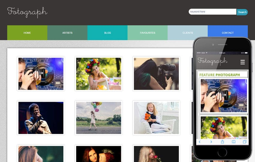 Fotograph web and mobile website template for free Mobile website template Free
