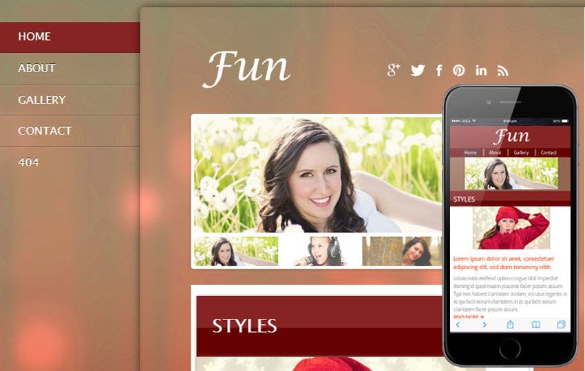 Fun Gallery Mobile Website Template