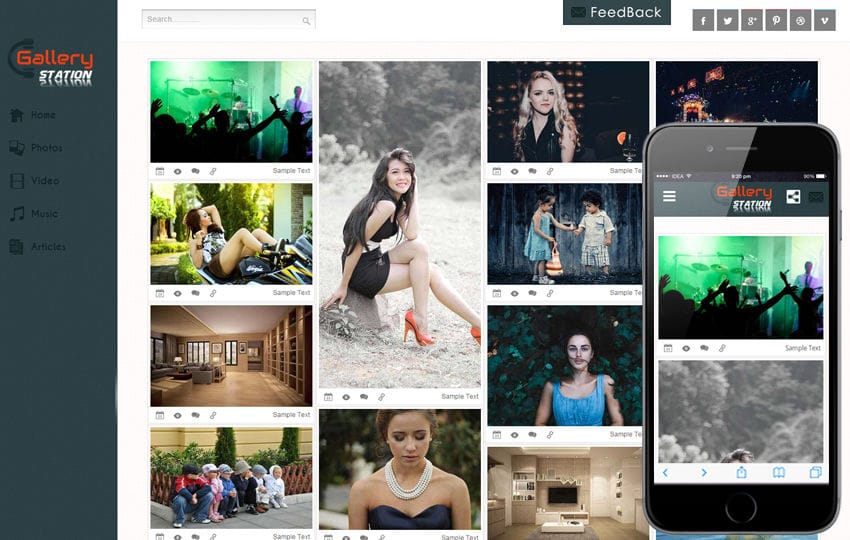 Gallery Station Photo Gallery Mobile Website Template