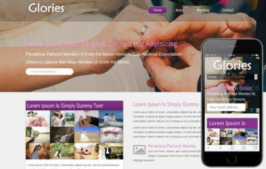 Glories wedding planner Mobile Website Template