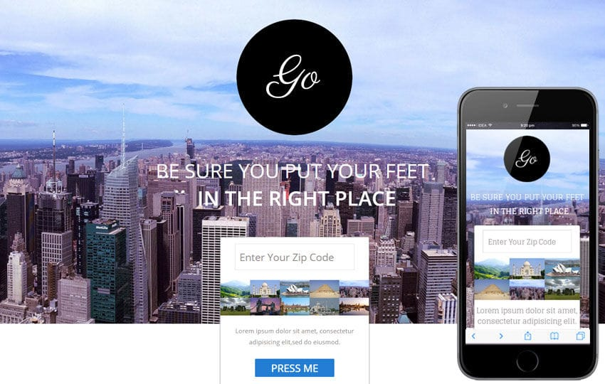 Go Singlepage a Travel Flat Responsive web template Mobile website template Free