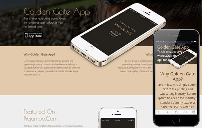 Golden Gate A Sleek Responsive Mobile website template