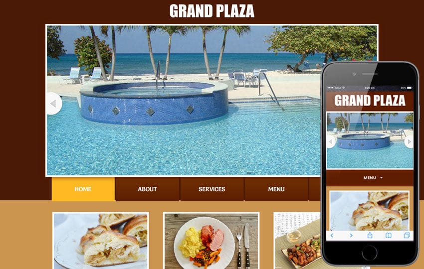 Grand Plaza web template and mobile website template for Restaurants and hotels Mobile website template Free