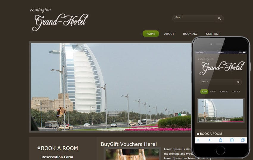 Free Grand Hotel web template and mobile website template for Hotels and restaurant Mobile website template Free