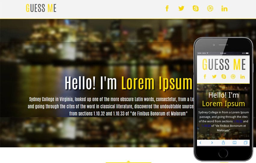 Guess Me personal portfolio Mobile Website Template Mobile website template Free