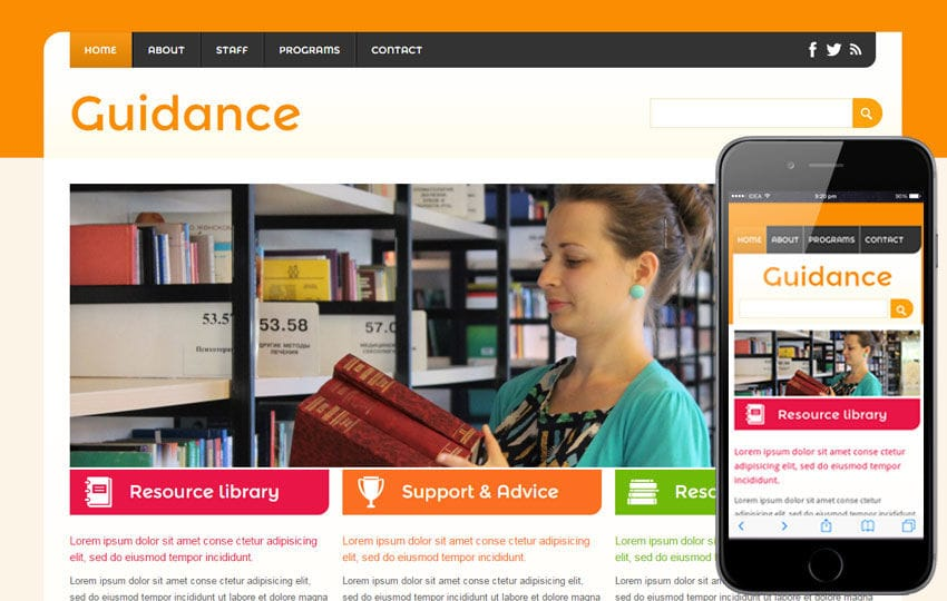 Guidance a Education Mobile Website Template Mobile website template Free