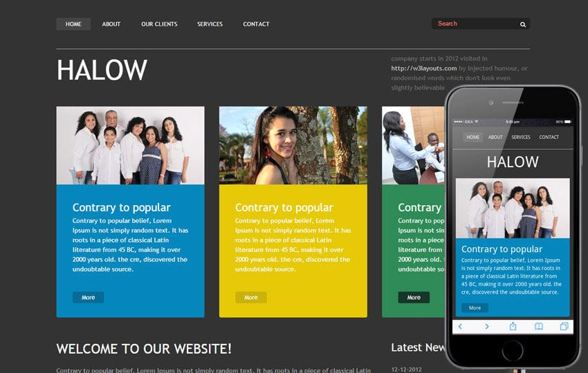 Halow website template and Mobile Template Free Mobile website template Free