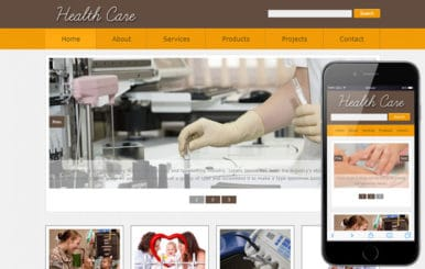 New Health Care web template and mobile web website template for Hospitals