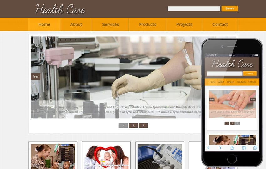 New Health Care web template and mobile web website template for Hospitals Mobile website template Free