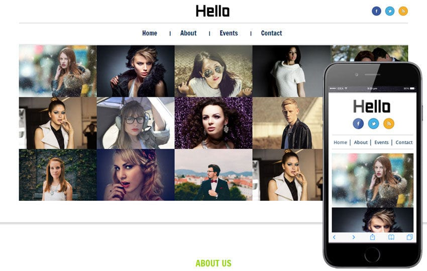 Hello personal web and Mobile Website Template Mobile website template Free
