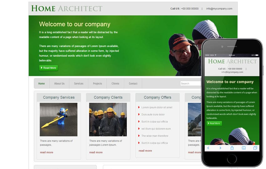 New Home Architect web template and mobile website template for interiors and builders
