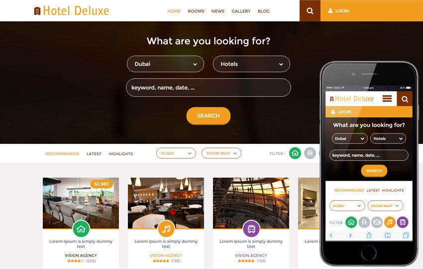 Hotel Deluxe a Hotel Category Flat Bootstrap Responsive Web Template Mobile website template Free