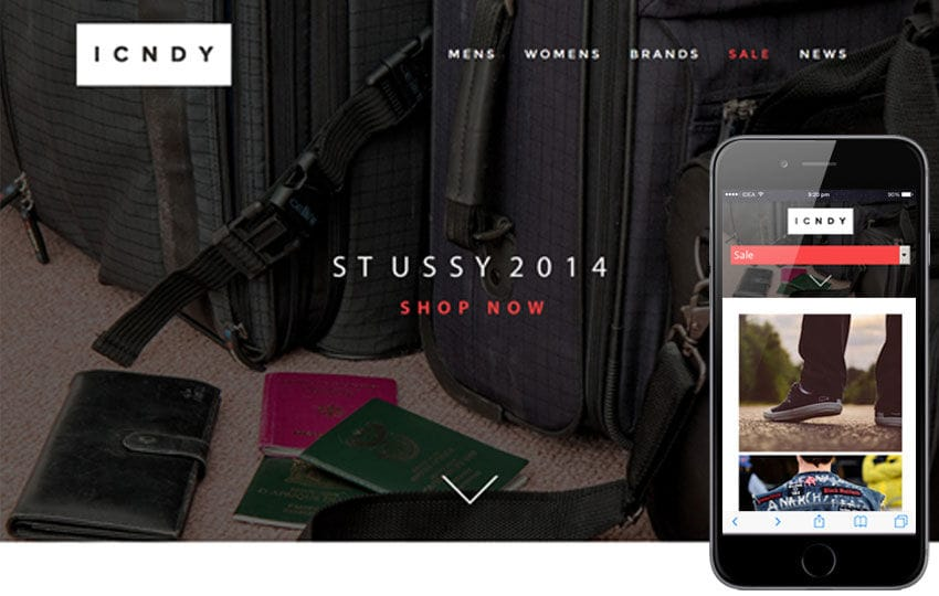 ICNDY a Flat ECommerce Bootstrap Responsive Web Template Mobile website template Free