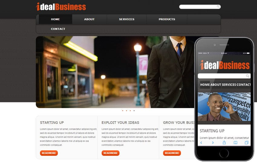 Free Ideal Business web template and mobile website template for corporate companies Mobile website template Free