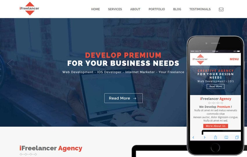 Ifreelancer a Personal Portfolios Flat Bootstrap Responsive Web Template Mobile website template Free