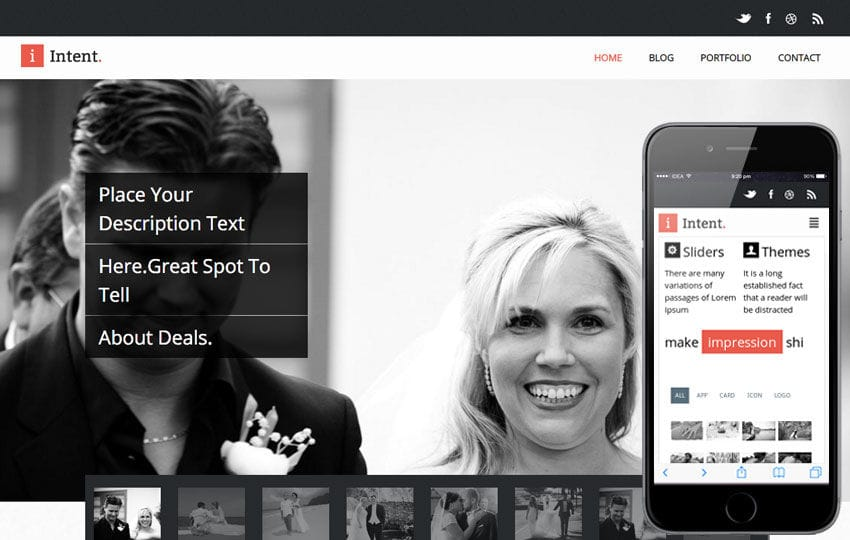 Intent Flat Responsive Wedding web template Mobile website template Free