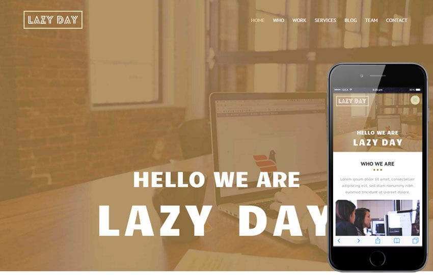 Lazyday a Personal Portfolio Flat Bootstrap Responsive web template Mobile website template Free