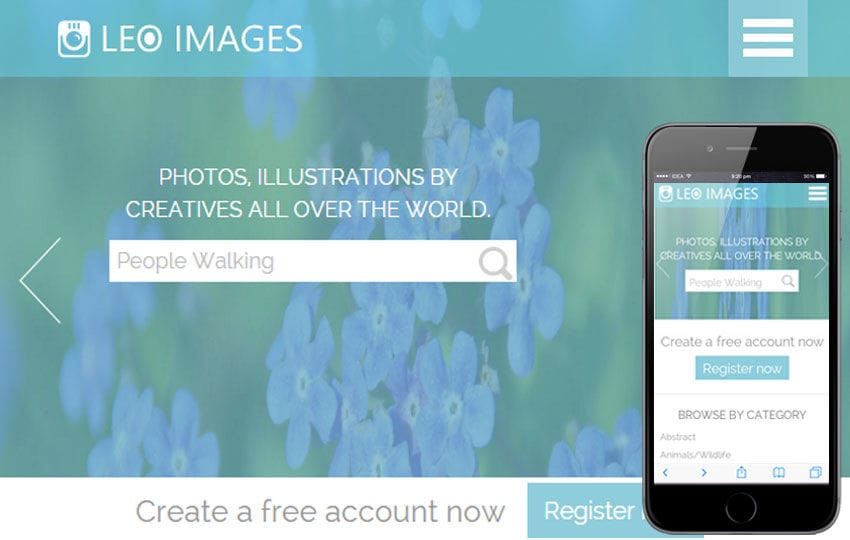 Leo Images a Flat Gallery Responsive Web Template Mobile website template Free