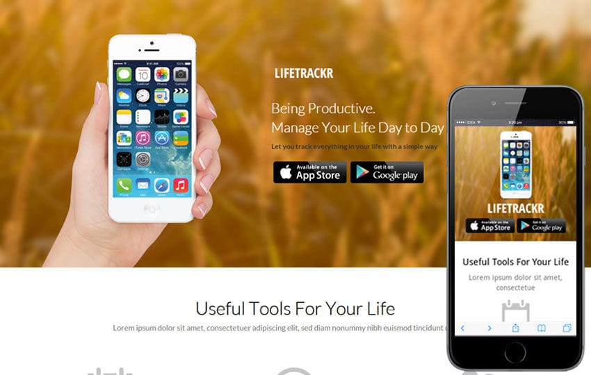 LifeTrackr a Landing page Flat Responsive web template Mobile website template Free