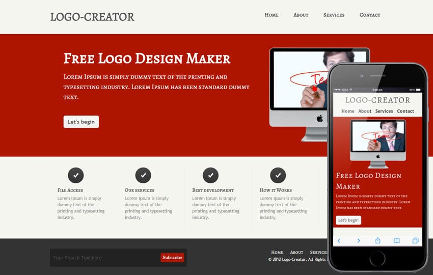 Free Logo Creator company web template and Mobile template Mobile website template Free