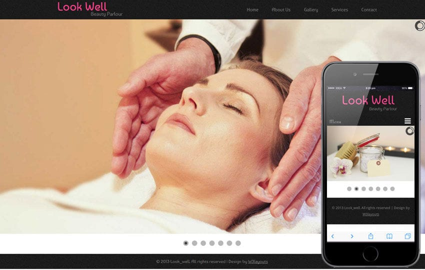 Look Well Beauty Parlour Mobile Website Template